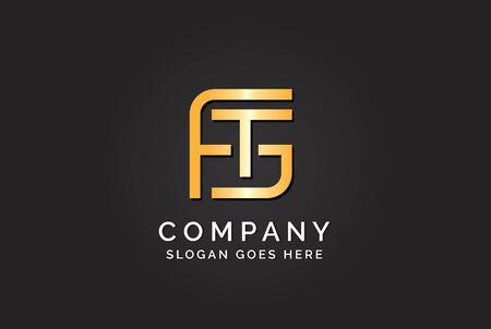 Luxury initial letter FTG golden gold color logo design Stock Illustratie