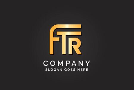 Luxury initial letter FTR golden gold color logo design Stock Illustratie