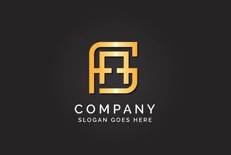 Luxury initial letter FAG golden gold color logo design