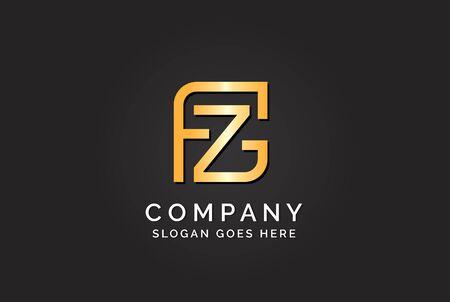 Luxury initial letter FZG golden gold color logo design