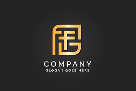 Luxury initial letter FFG golden gold color logo design