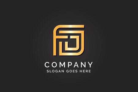 Luxury initial letter FJJ golden gold color logo design