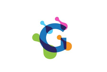 Multicolor playful initial letter logo design with rainbow bubble cell pattern