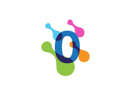 Multicolor playful number logo design with rainbow bubble cell pattern Stock Illustratie