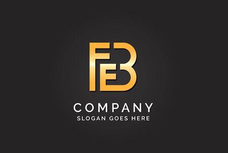 Luxury initial letter FEB golden gold color logo design Stock Illustratie