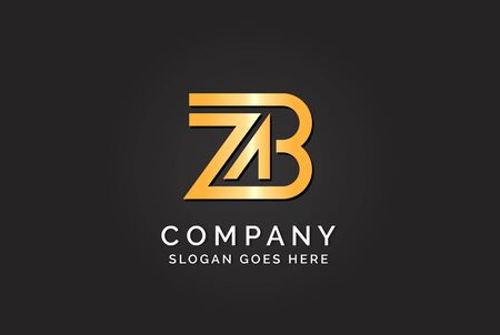 Luxury initial letter ZAB golden gold color logo design Stock Illustratie