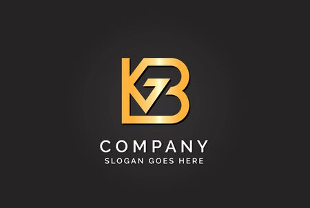 Luxury initial letter KGB golden gold color logo design Stock Illustratie