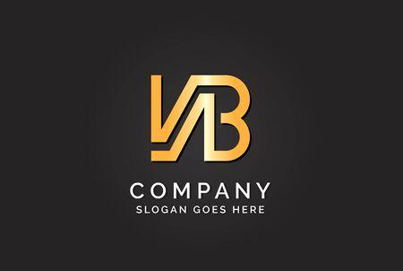Luxury initial letter VAB golden gold color logo design