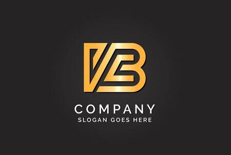 Luxury initial letter VCB golden gold color logo design