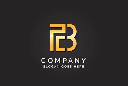 Luxury initial letter PCB golden gold color logo design Stock Illustratie