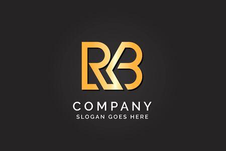 Luxury initial letter RKB golden gold color logo design
