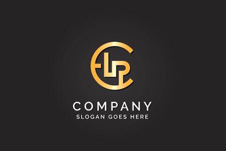Luxury initial letter CLP golden gold color logo design