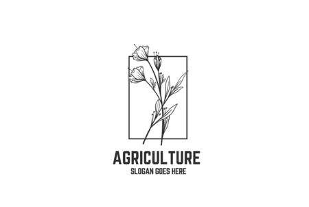 Vintage hand drawn flower plants with square frame floral logo design