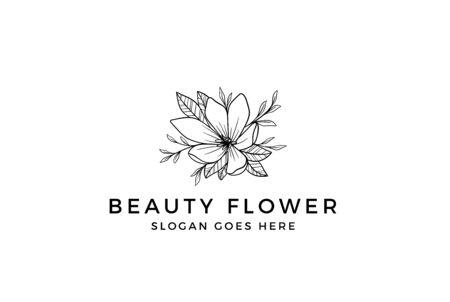 Vintage hand drawn flower plants floral logo design Stock Illustratie