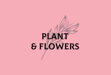 Vintage hand drawn plants floral with text logo design