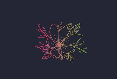 Colorful hand drawn flower graphic logo design Stock Illustratie