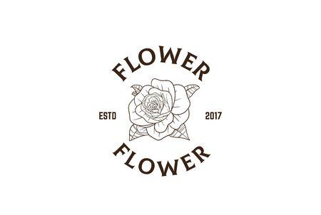 Vintage hand drawn rose flower plants floral with text logo design