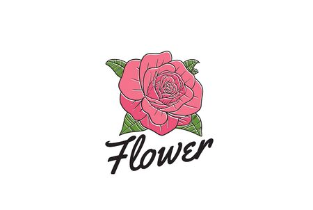 Vintage hand drawn tattoo rose flower floral with text logo design