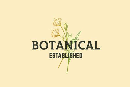 Vintage retro hand drawn flower plants floral with text logo design