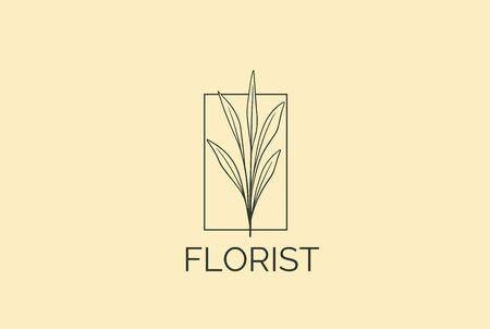 Vintage retro hand drawn leaf plants floral with square frame logo design Stock Illustratie