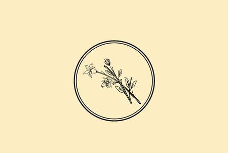 Vintage retro hand drawn leaf plants floral with circle frame logo design Stock Illustratie