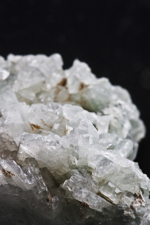 gemology: mineral albite  on black background Stock Photo