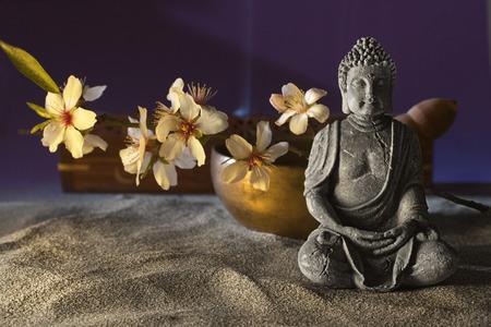 石に座って仏花とチベット ボウル 写真素材