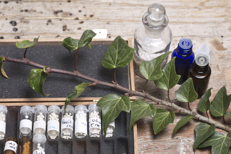 globules: bottles with homeopathy globules and homeopathy liquid and ivy