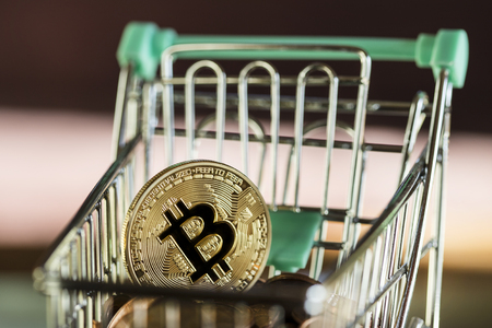 two bitcoin currency shopping concept