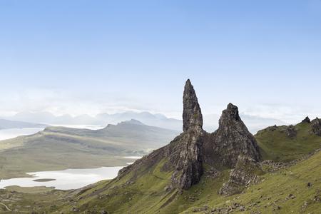 Old Man of Storr rock formation in blue skye. Isle of Skye, Scotland.