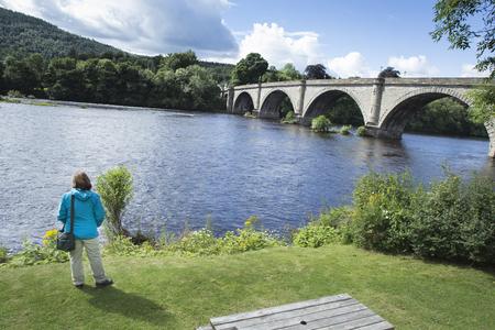 Old vintage bridge in Dunkeld rivertay, Perthshire Stock Photo