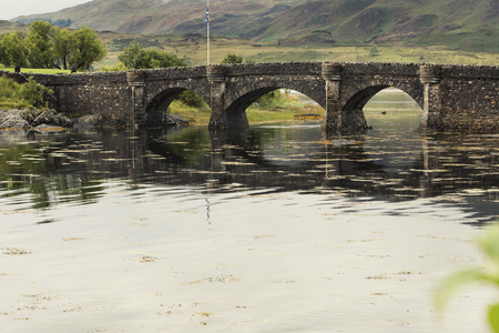 Bridge of Eilan Donan Castle fortified castle built in the mid 13th century. Scotland England
