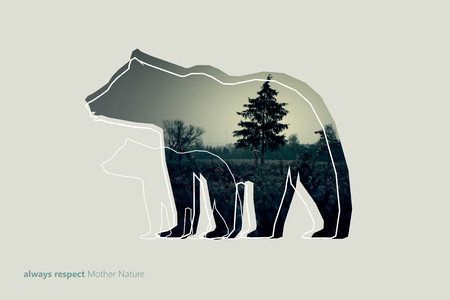 dark forest: Creative photo poster with double exposure with line icon of bear and the text always RESPECT Mother Nature. Dark forest in the middle.