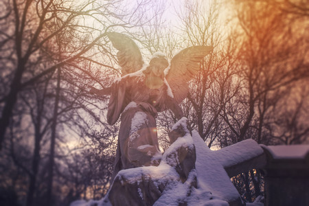 angel headstone: Angel statue illuminated by the sunlight. Cemetery during the winter