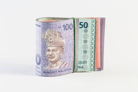 splurge: Malaysia Bank Notes under rubber band