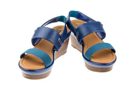 sexy f�sse: Paar blaue High Heel auf wei�em Hintergrund