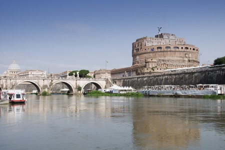 Castle Saint Angelo at river Tiber and Saint Peter s Basilica  photo