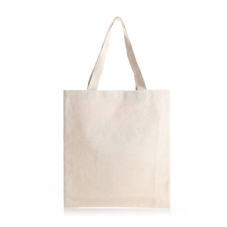 Eco Friendly Beige Colour Fashion Canvas Tote Bag Isolated on White Background. Reusable Bag for Groceries and Shopping. Design Template for Mock-up. Front View