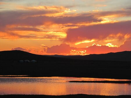 ger: Beautiful Mongolian Sunset