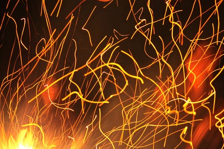 Flying embers from the campfire