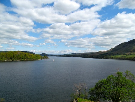 lake district: Peaceful view of Ullswater in Lake District Stock Photo