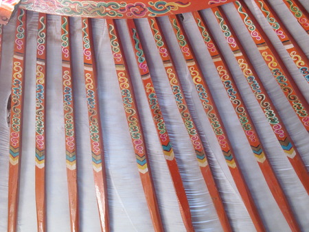 ger: Decorated roof support beams for Mongolian ger
