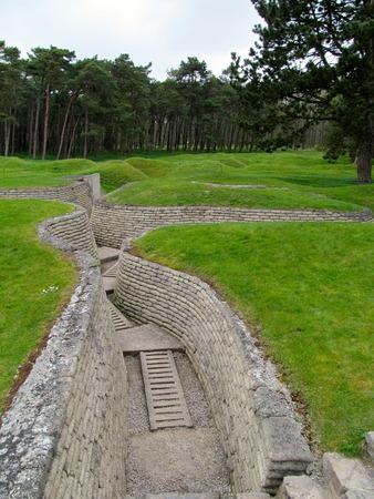 trenches: Preserved British trenches at Vimy Ridge Stock Photo