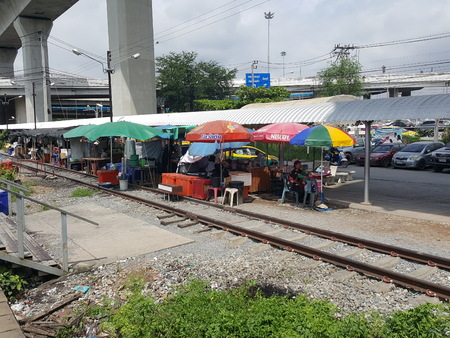Railway in Bangkok, this train is the old line that connects the airport to the city center