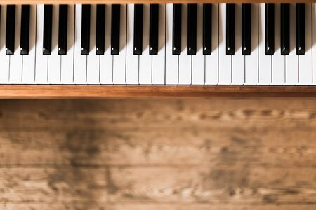 Vintage wooden piano keys with text space Foto de archivo