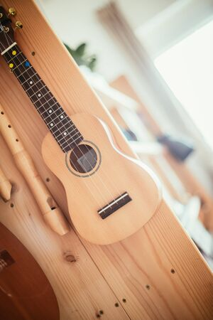 Ukulele and flutes hanging on a wooden bookshelf, close up picture