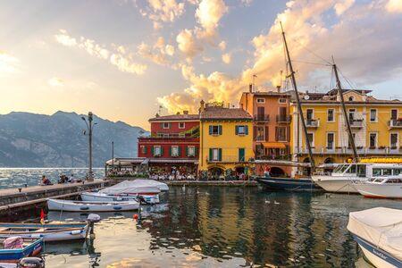Beautiful Italian village near the sea, evening scenery