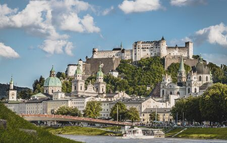 Idyllic panoramic city landscape of Salzburg in Summer