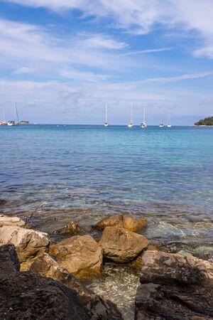 Beautiful bay near Rovinj, clear water and stony beach, Croatia Reklamní fotografie