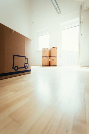 Move. Cardboard, boxes and stuff for moving into a new home